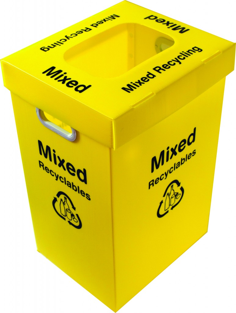 Mixed Recycling Bin with Lid - Yellow - Port Nicholson